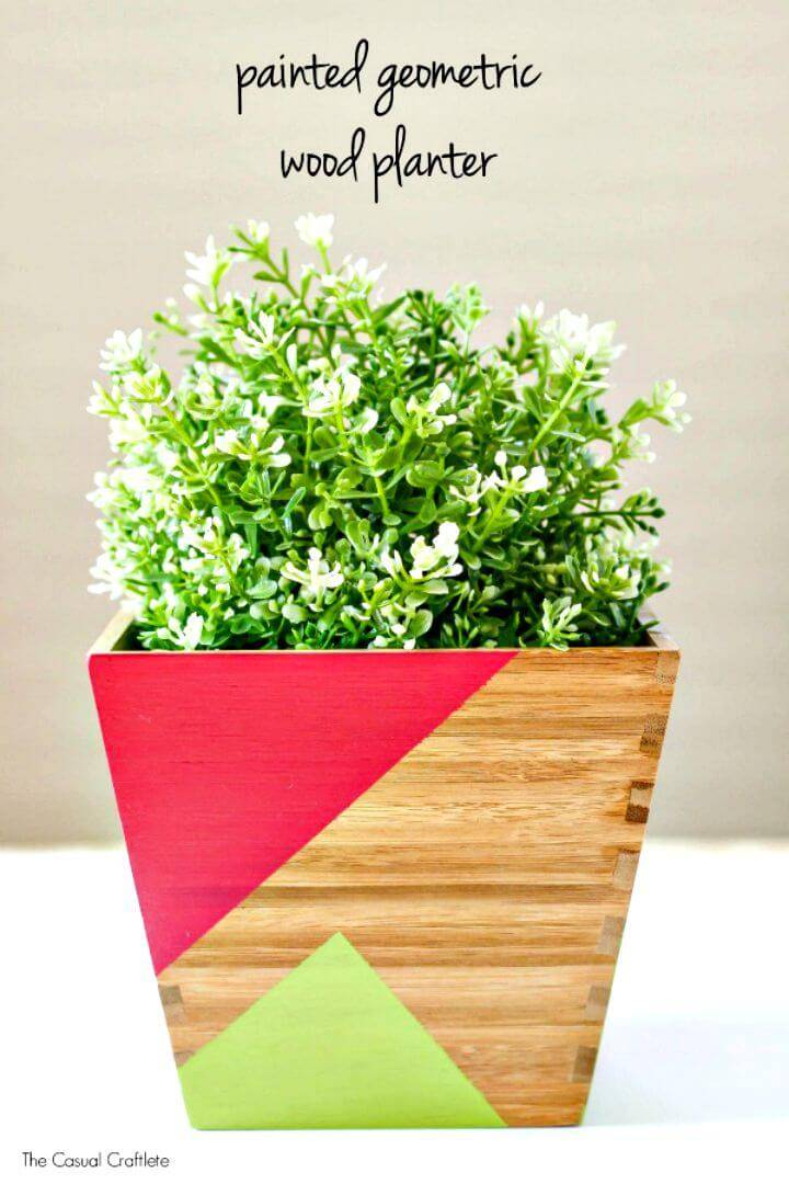 DIY Painted Geometric Wood Planter
