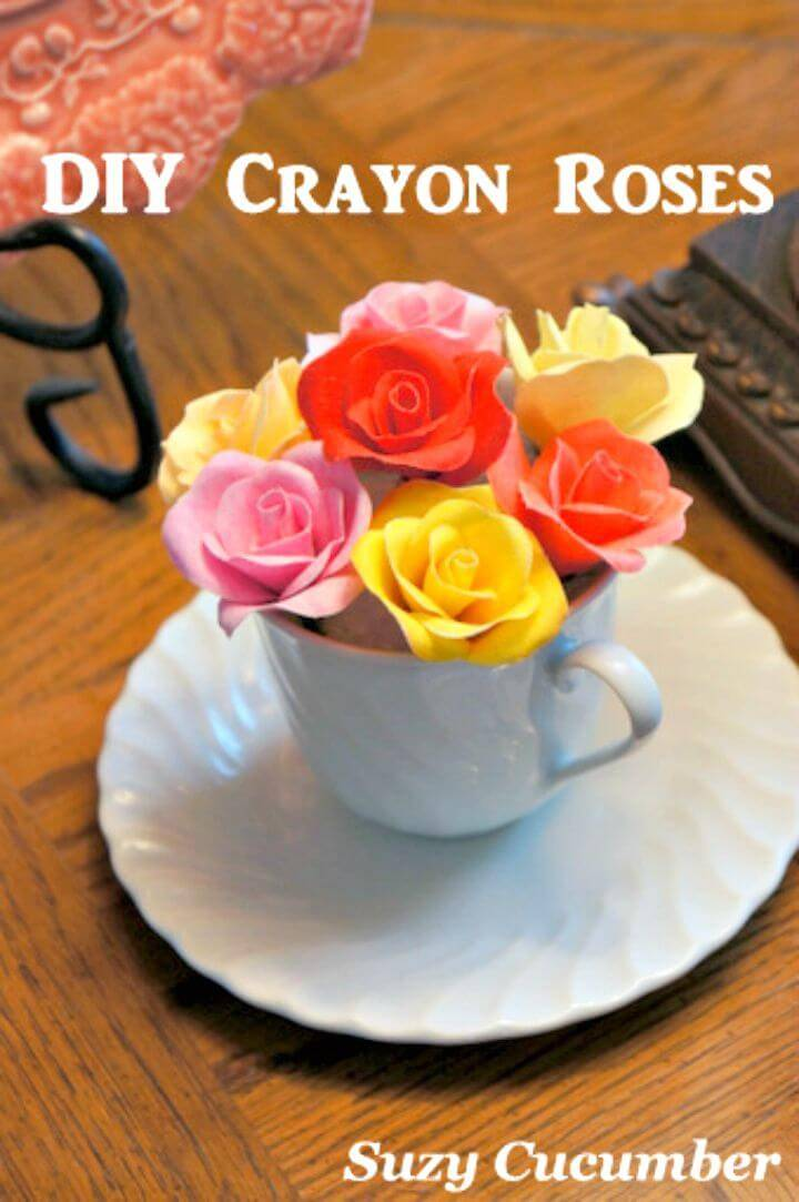 DIY Rose Garden with Fabric, Crayons, and Glue