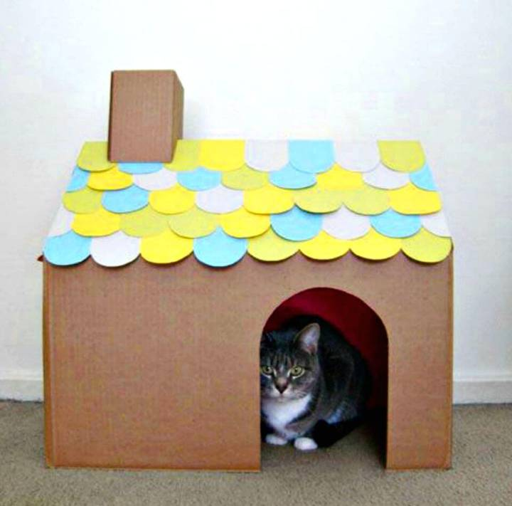 DIY Shingled Cat House Cardboard