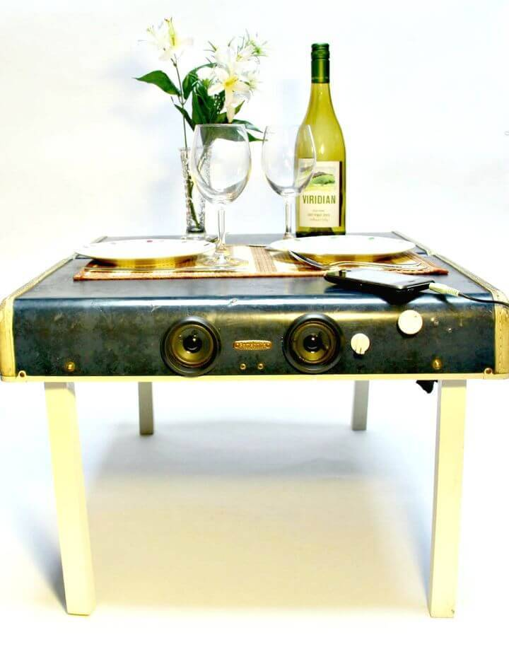 DIY Suitcase Picnic Table and Speaker System