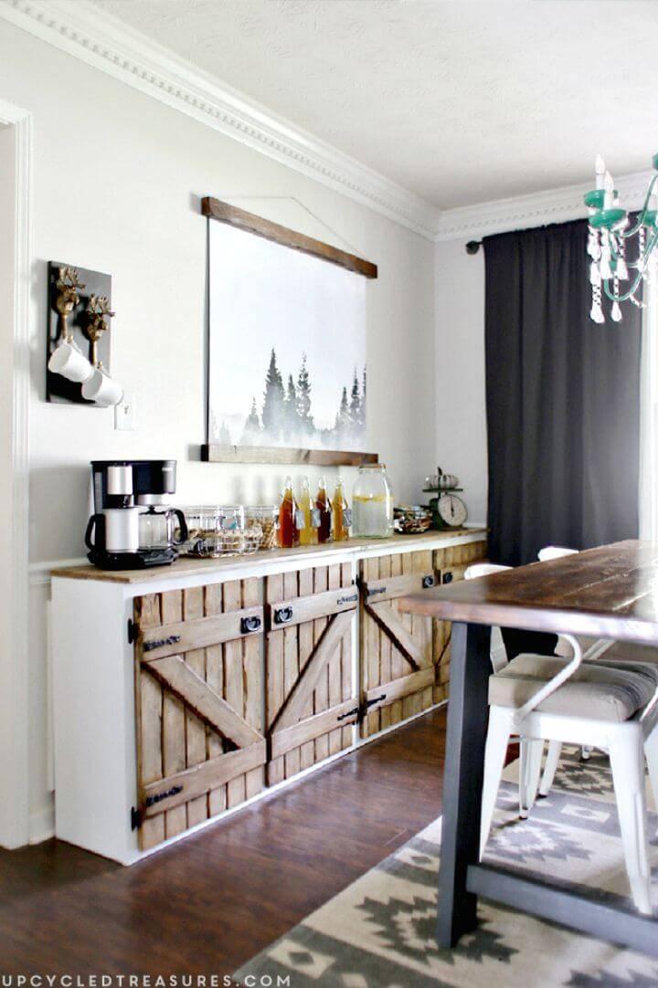 DIY Upcycled Barnwood Style Sideboard
