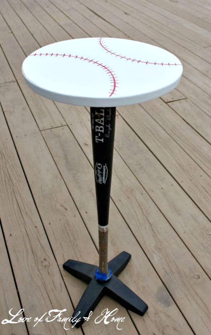 DIY Vintage Baseball Bat Nightstand