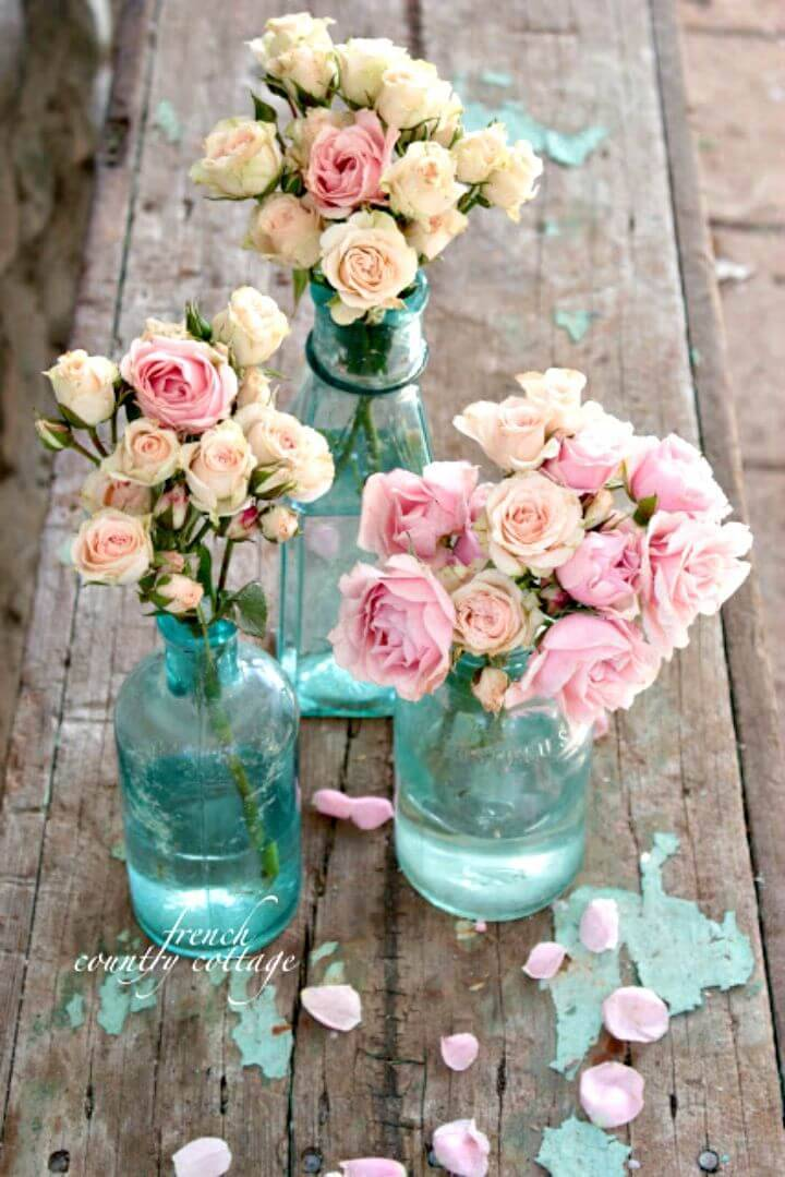 DIY Shabby Chic Vintage Blue Bottles