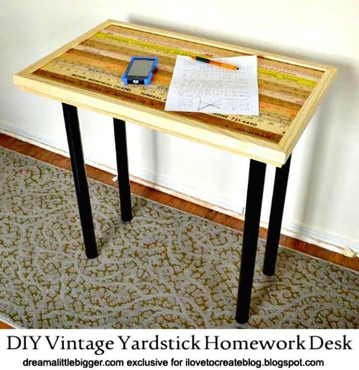 DIY Vintage Yardstick Homework Desk