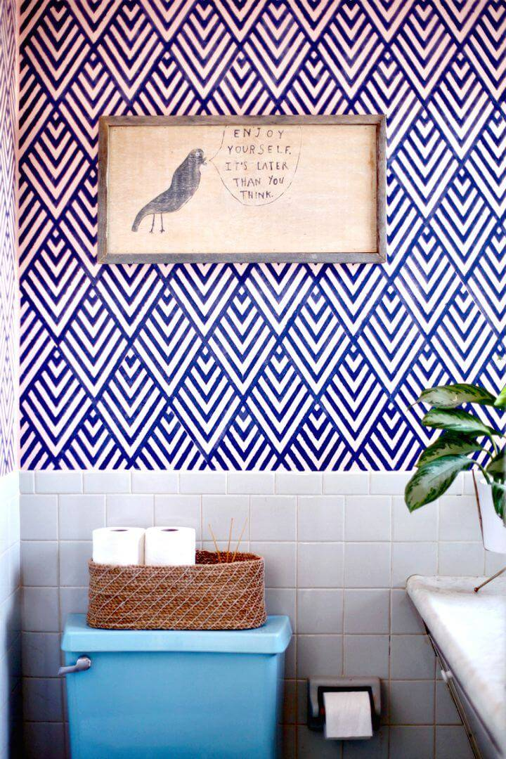 DIY Wallpaper Look with A Geometric Stencil