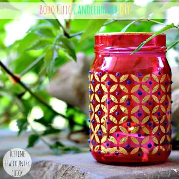 DIY Boho Chic Mason Jar Candle Holders
