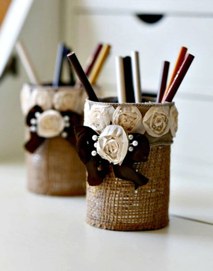How to Make a Burlap Pencil Holder - Easy DIY