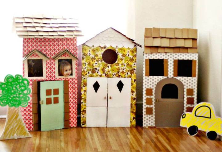 Super Fun DIY Cardboard Playhouses for Kids