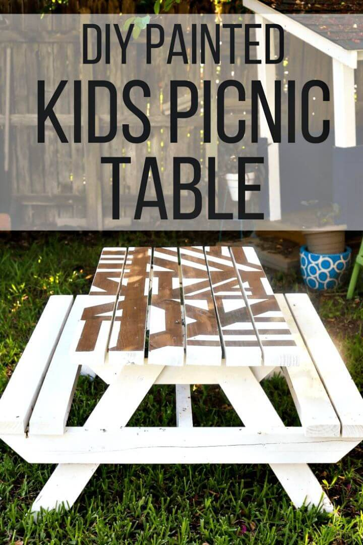 DIY Geometric Kid Picnic Table