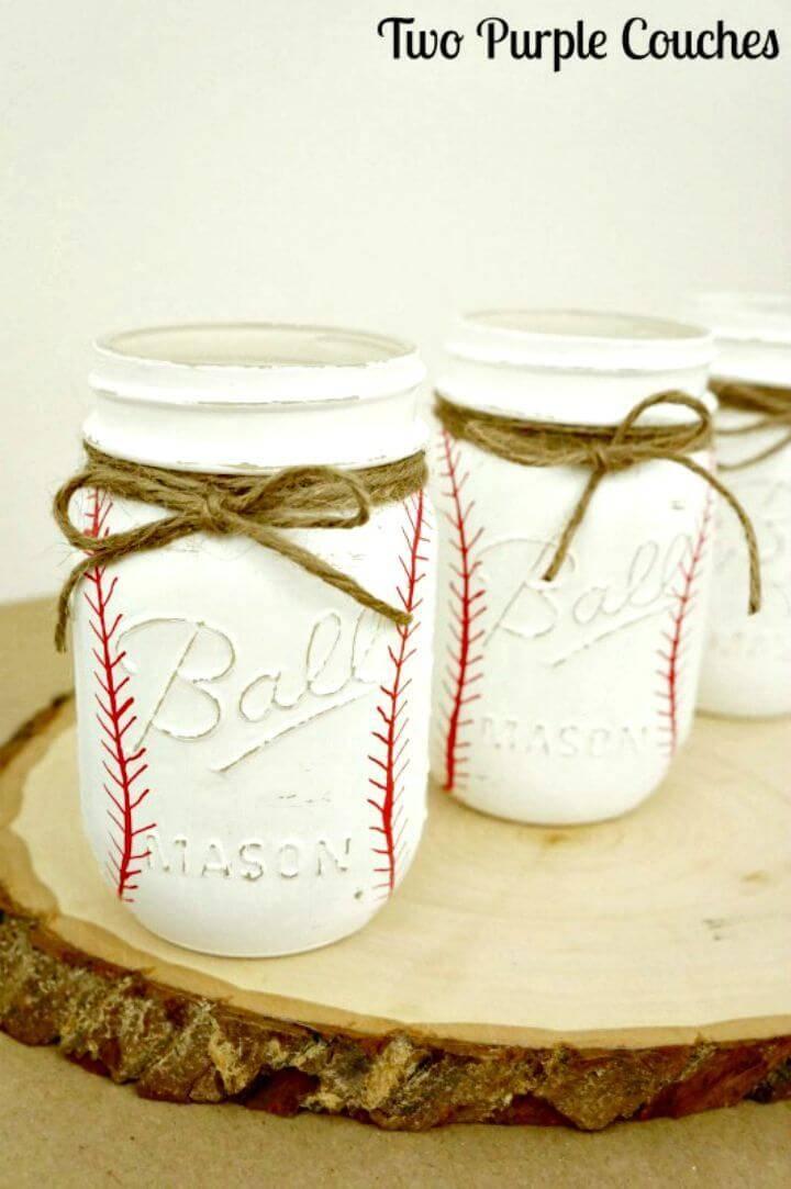 How to Make Painted Baseball Mason Jars - DIY