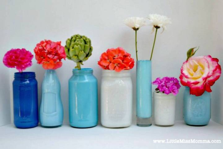 Easy DIY Painted Mason Jar Vases