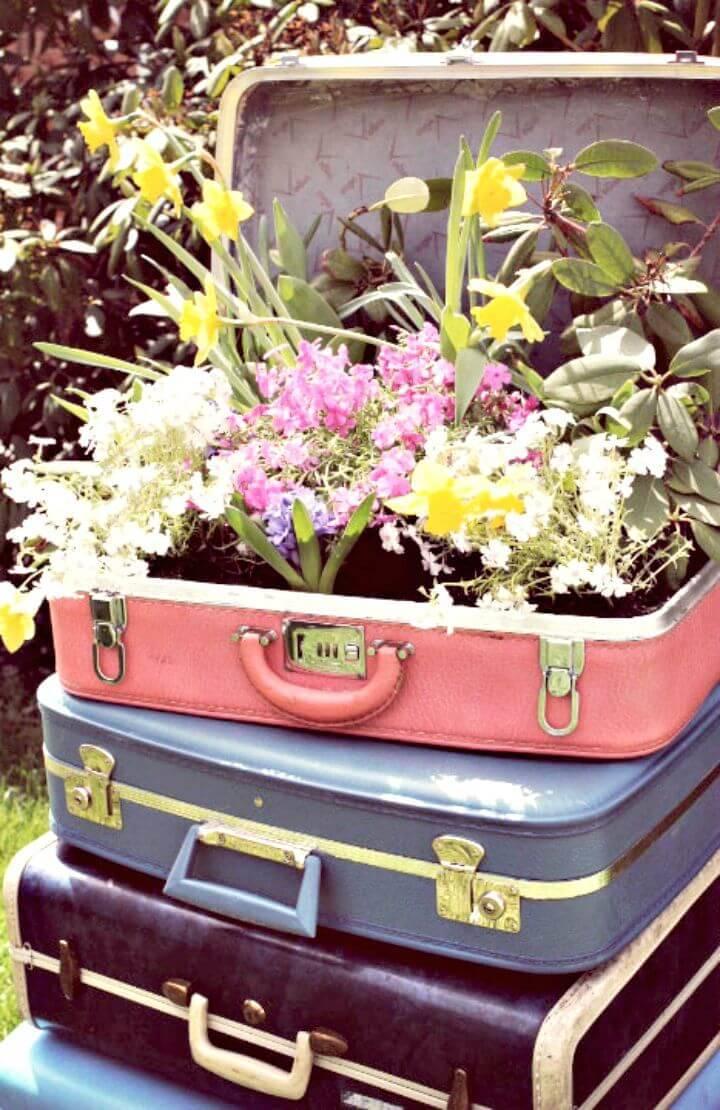 DIY Vintage Suitcase Garden Planter