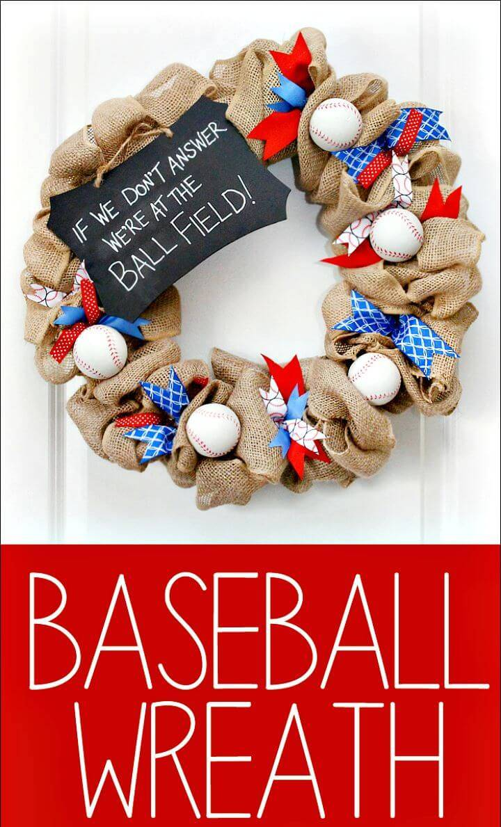 Easy To Make Baseball Wreath for Front Door - DIY Baseball Crafts