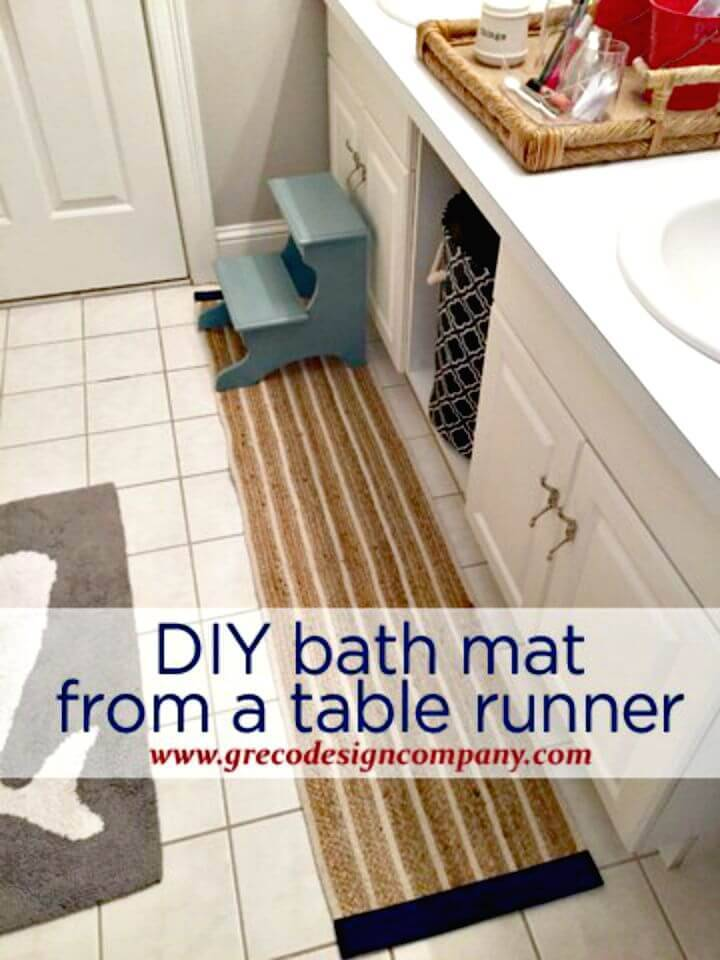 Easy To Make Bath Mat from A Table Runner - DIY