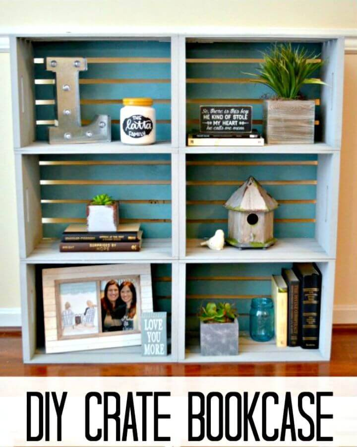 Functional DIY Crate Bookcase for Storage
