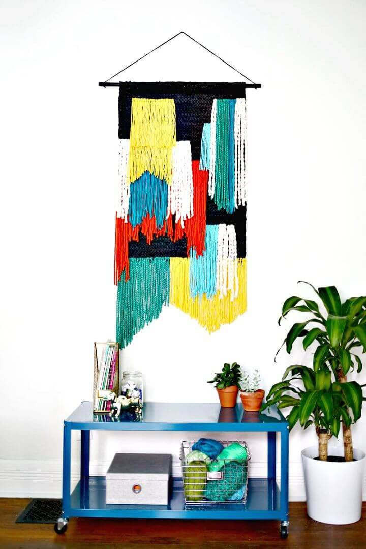 DIY Large Tapestry Wall Hanging - Leftover Carpet Scraps Projects