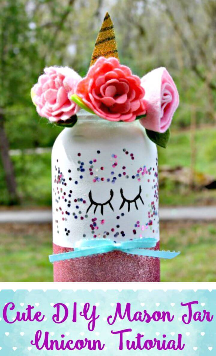 Easy to Make Mason Jar Unicorn Craft - DIY Mason Jar Ideas