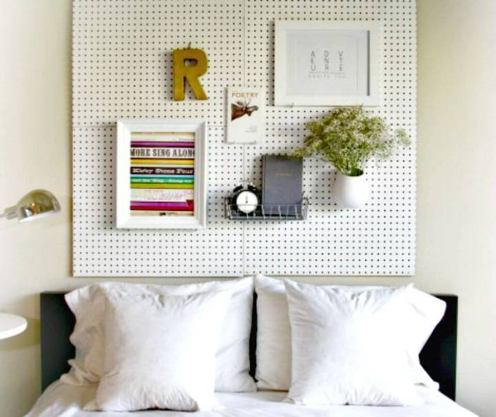 Adorable DIY Pegboard Headboard