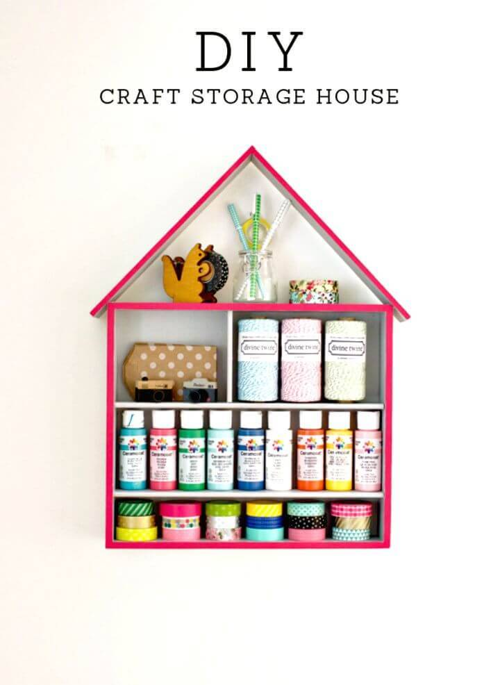 DIY Craft Storage House for Crafting Supplies