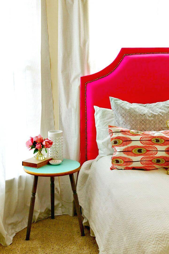How to DIY Pink Upholstered Headboard