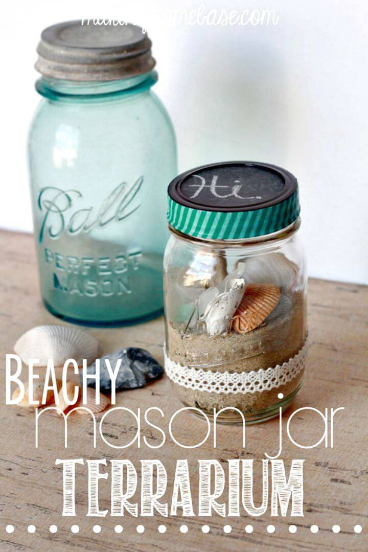 DIY Beachy Mason Jar Terrarium