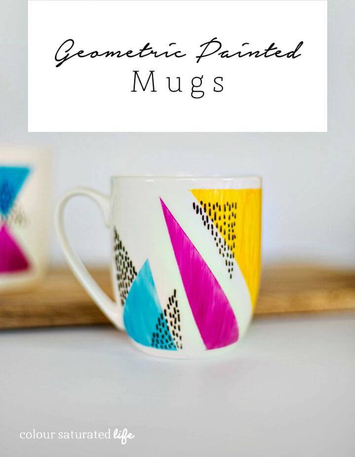 Easy to Make Geometric Painted Mugs