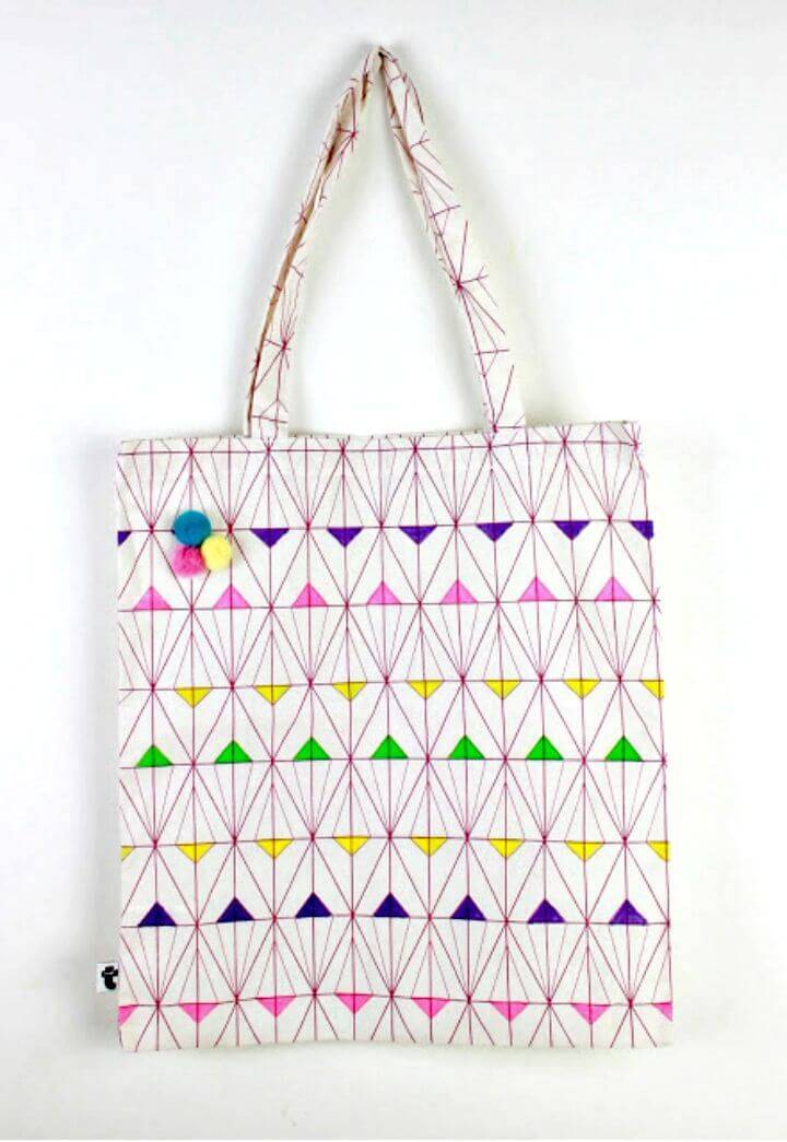 DIY Geometric Painted Tote Fabric Bag