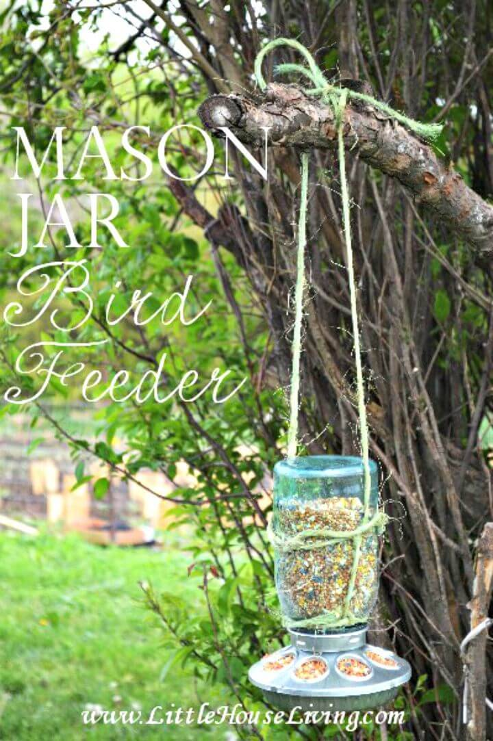 How To Make Mason Jar Bird Feeder