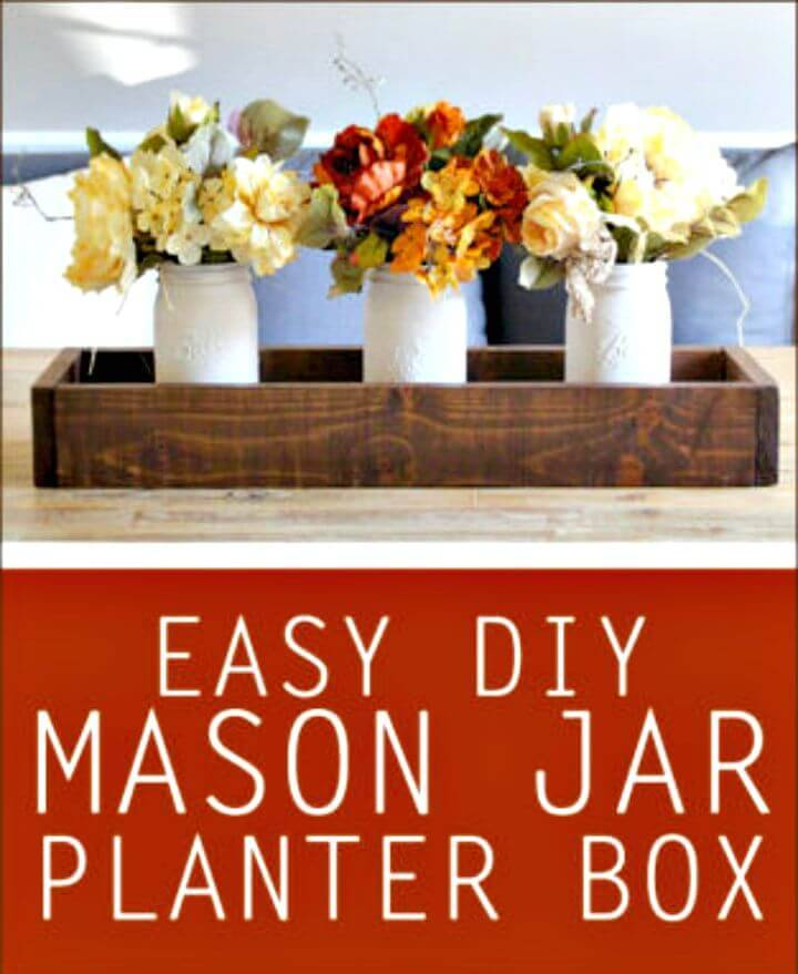 Make Mason Jar Planter Box Centerpiece - DIY