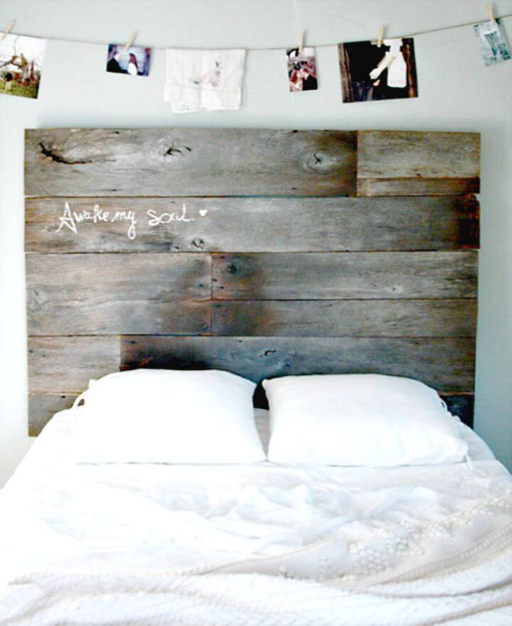 DIY Salvaged Barnwood Headboard