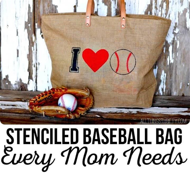 Easy DIY Stenciled Baseball Bag