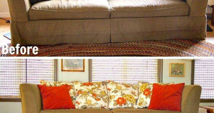 Adorable DIY Sofa Makeover