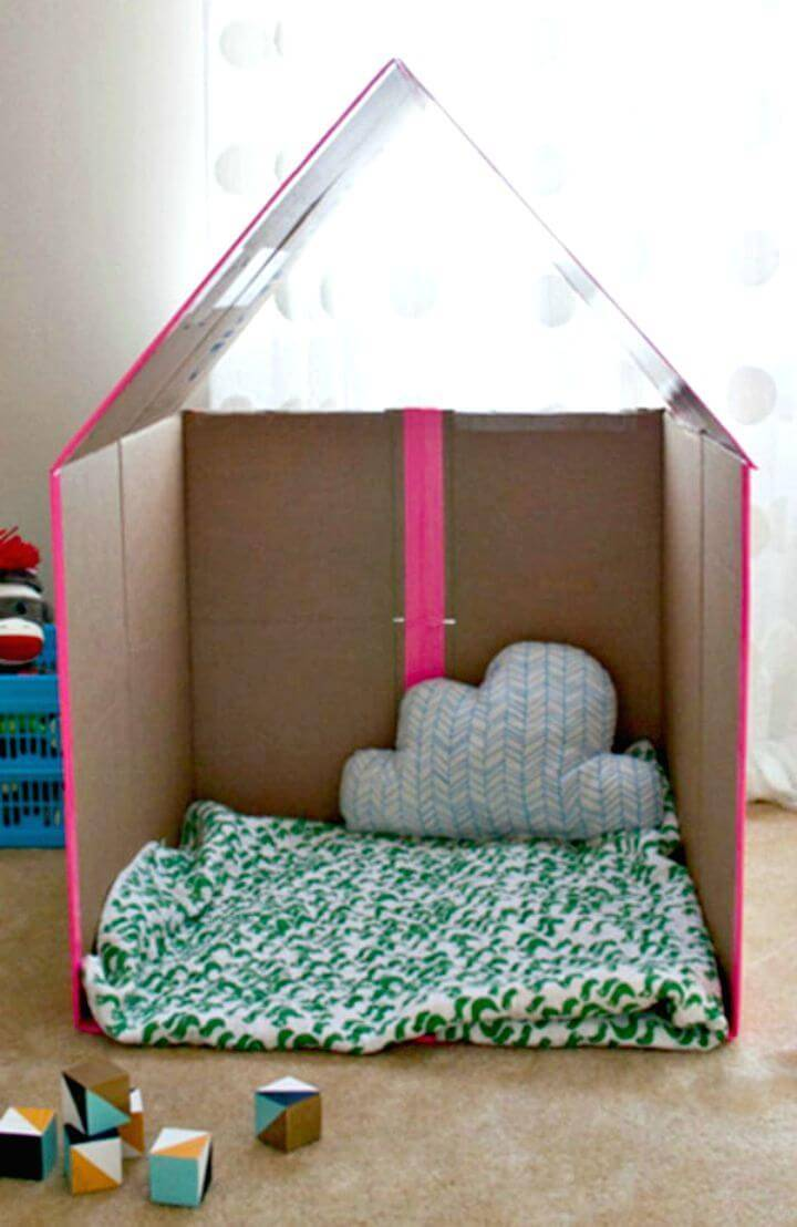 How To Turn a Plain Cardboard Box Into A Super Cool Playhouse - DIY for Kids