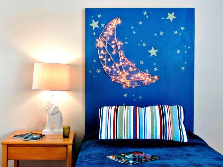 DIY Kid's Headboard with Built-in Nightlights - Nursery Room Ideas