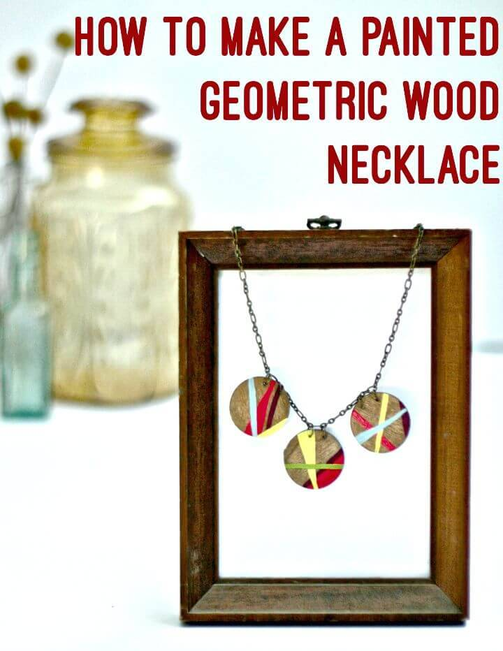 DIY Painted Geometric Wood Necklace