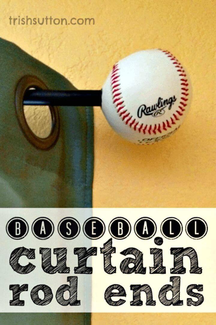 DIY Baseball Curtain Rod Ends