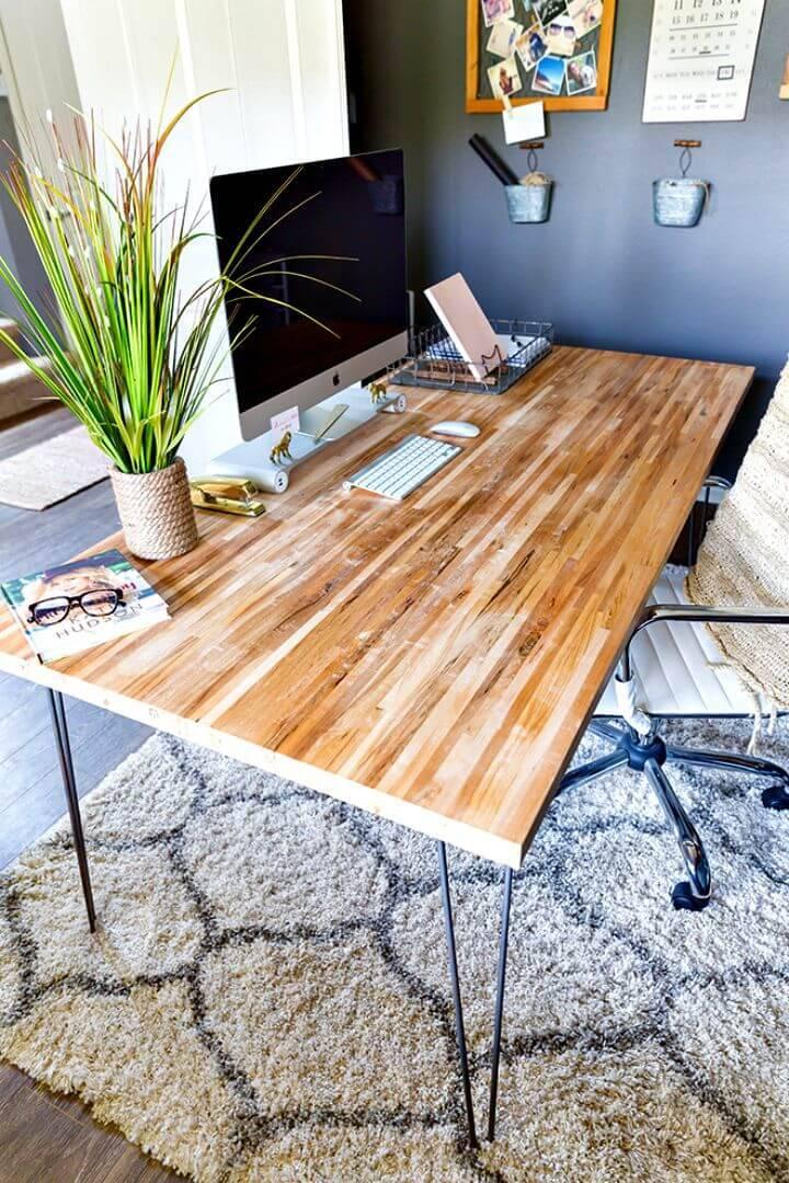 DIY Butcher Block Corner Desk