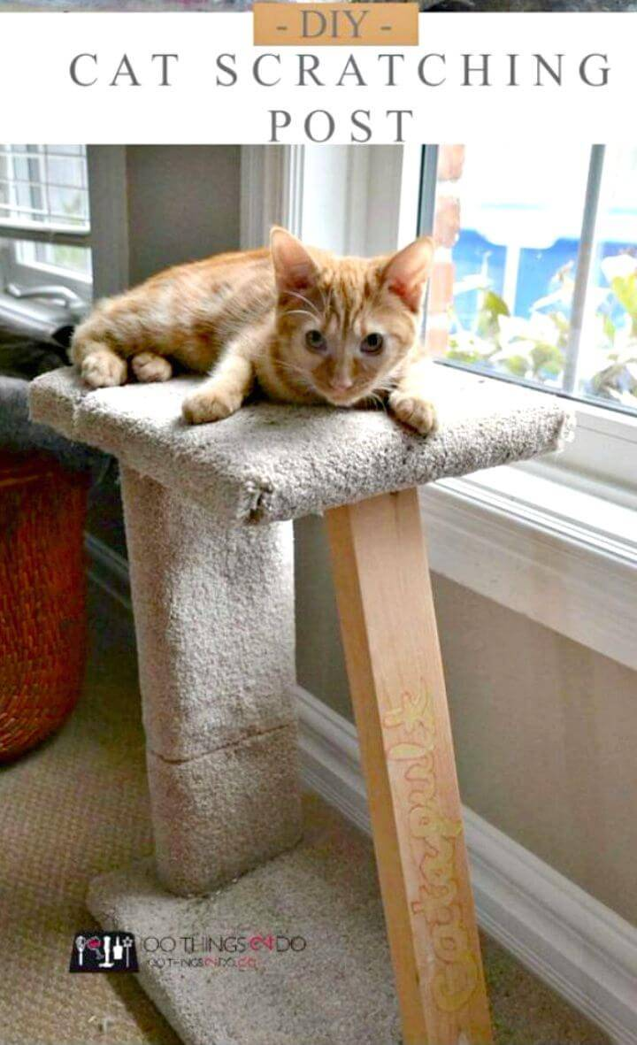 DIY Cat Scratching Post from Leftover Carpet Scraps