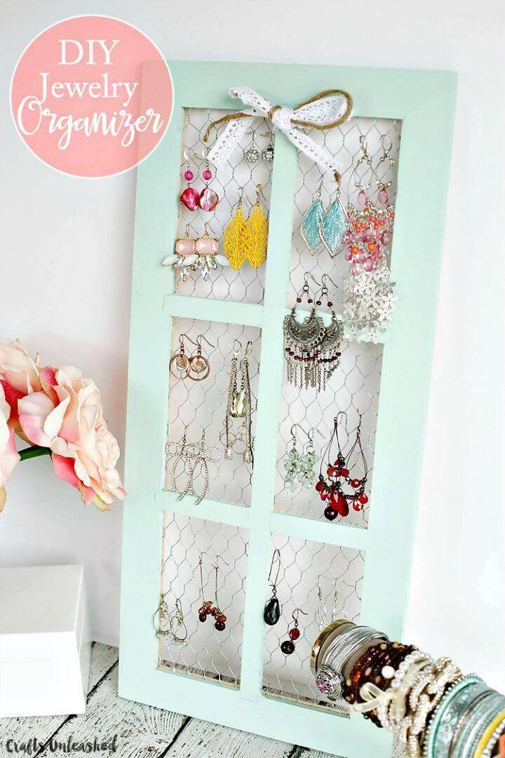 DIY Shabby Chic Chicken Wire Jewelry Holder