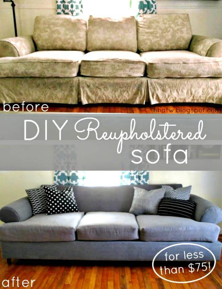 DIY Couch Reupholster with A Painter's Drop Cloth