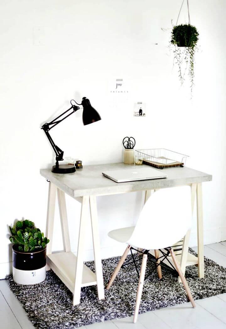 DIY Desk with Concrete Desktop and Wood Legs