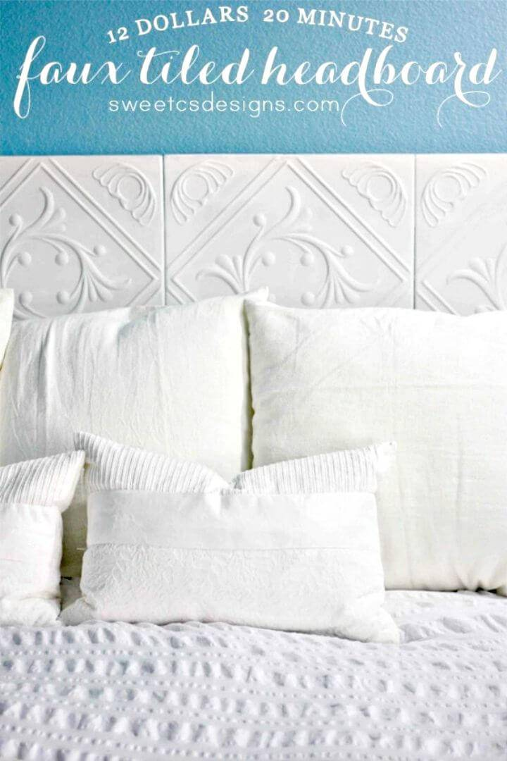 DIY Faux Tiled Headboard