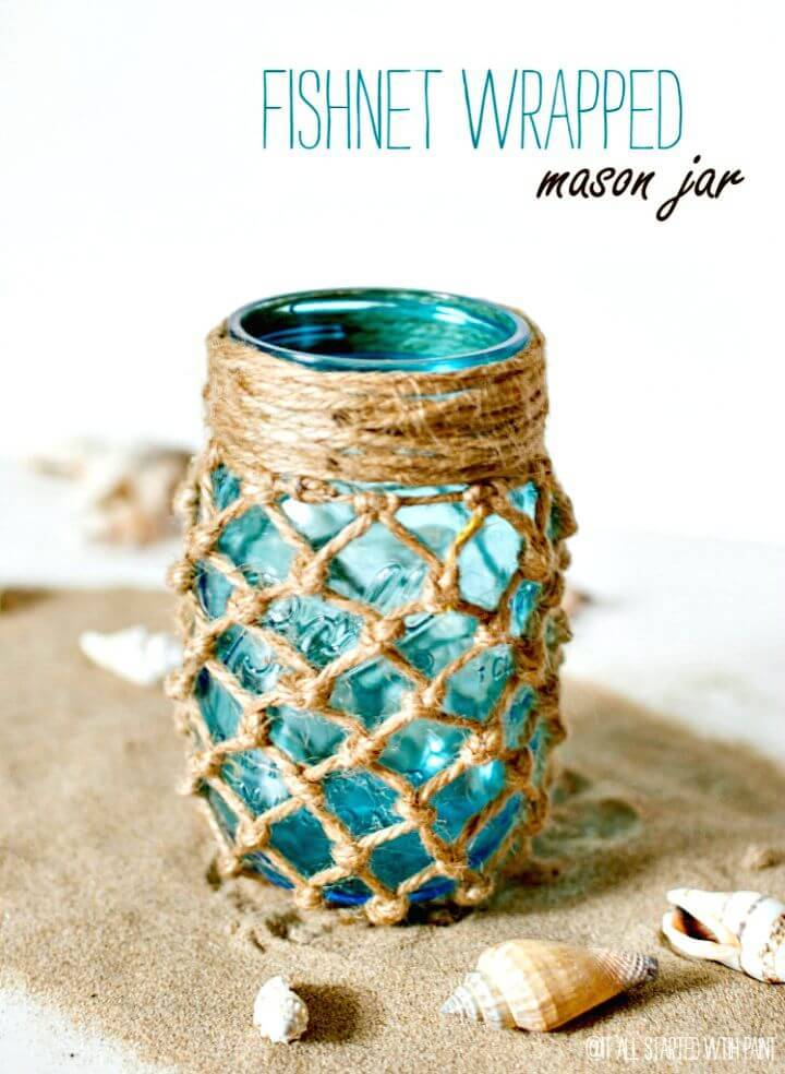 DIY Fishnet Wrapped Mason Jar Craft
