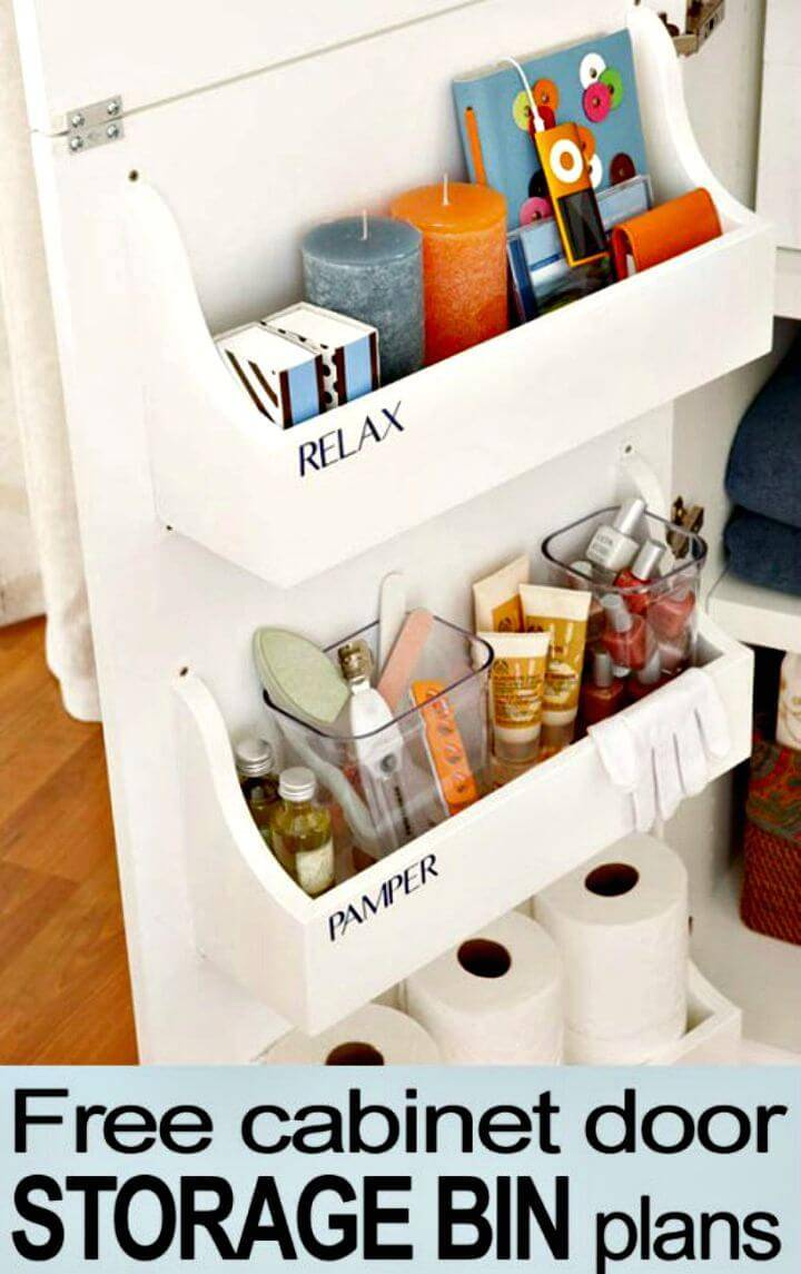 DIY Free Cabinet Door Storage Bin Plans