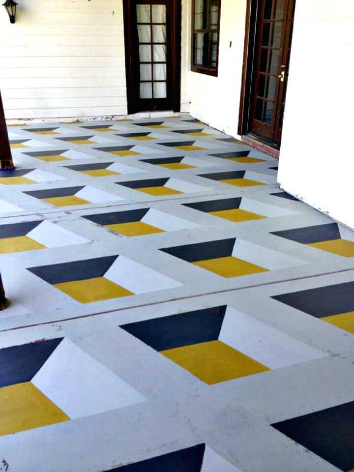 DIY Geometric Cube Painted Floor