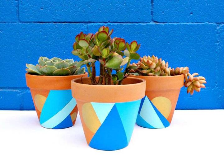 Beautiful DIY Geometric Painted Pots
