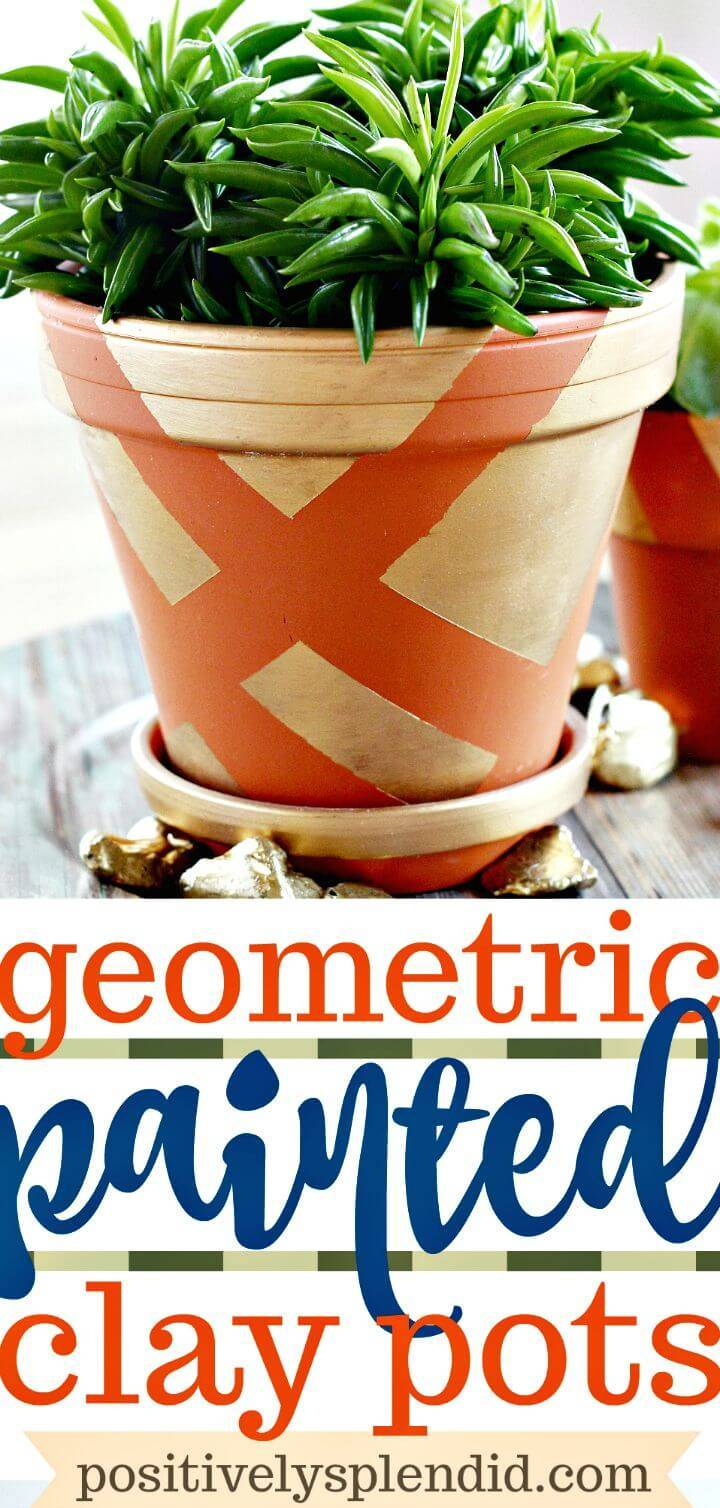 DIY Geometric Painted Terracotta Pots