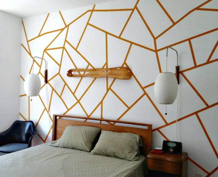 How to Create Geometric Painted Wall - DIY