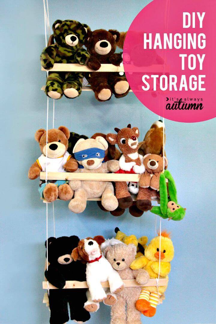 DIY Hanging Toy Storage To Organize The Stuffed Animals