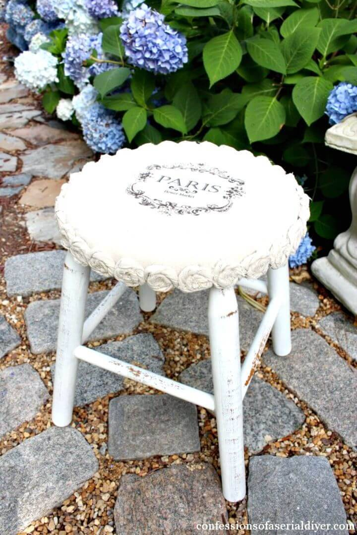 DIY Mini Drop Cloth Rosette Stool